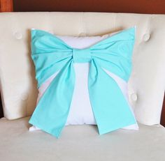 Items similar to Throw Pillow Set Bright Aqua Bow on Gray and White Damask Pillows -Aqua Blue Pillow- Baby Nursery Decor- on Etsy Tie Pillows, Grey Throw Pillows, Tiffany Blue Bedroom, White Damask, Patriotic Decorations, Pillow Set, Neck Pillow, Pillow Talk, Pillow Covers
