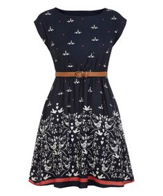 Navy Belted Dove A-Line Dress #zulily #zulilyfinds