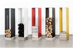 awesome colorful modern metal organizers for firewood, wine bottles, magazines! (what more do I need?)