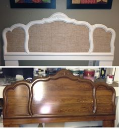 Headboard makeover.  Purchased on Craigslist for $15.  Used chalkpaint recipe from Pinterest on the frame and added the burlap fabric.