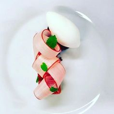 rhubarbs, rye bread and sour cream ice cream