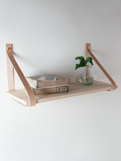 NEW Wood and Leather Shelf - Small - Indoor Living