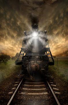 Steam locomotive by Dianne Williams Train Tracks, Train Rides, Image Train, Motor A Vapor, Foto Picture, Train Art, Night Train, Old Trains, Train Pictures