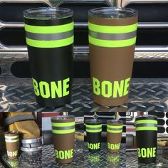 ⛥⛥ CHECK IT OUT!⛥⛥ Black or brown bunker gear? What are your thoughts? We're trying out some Bunker gear inspired YETI's! Diy Tumblers, Custom Tumblers, Glitter Tumblers, Personalized Tumblers, Firefighter Gear, Volunteer Firefighter, Yeti Cup, Tumbler Designs, Glitter Cups