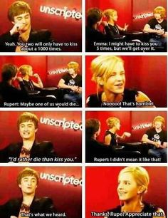 When both Daniel and Emma teased Rupert for his Ron-like awkwardness.
