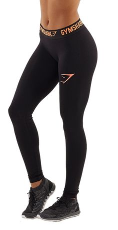 Gymshark Form Compression Leggings - Black/Coral - Latest Releases - Womens size small