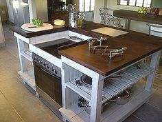 Don\'t like the color or island, but the idea of the cooktop with ...