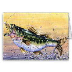 Stunning jumping Largemouth Bass greeting card. Winning art by  J. Varpucanskis - Grade 7 Greeting Card
