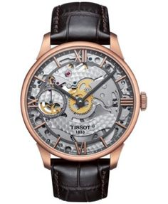 Tissot lets you view the meticulous craftsmanship of their T-Complication Squellete timepiece. Hand-wound mechanical movement recalls classic pocket watch design. | Brown leather strap | Round rose go