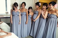 Bari Jay Bridesmaid dresses. Love the dress and is a good solution for pregnant bridesmaids, too.