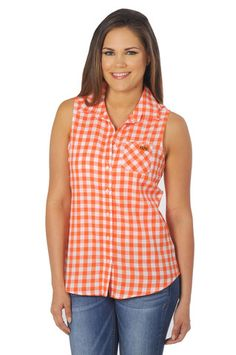 Show off your OSU pride in our Oklahoma State Cowboys Sleeveless Plaid Top. A perfect wardrobe staple for any true Cowboys fan! Sleeveless button up gingham plaid top - University Girls Apparel