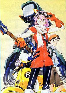 """Furi Kuri""/""Fooly Cooly"" (June 2000 – March 2001)  original video animation series written by Yōji Enokido, directed by Kazuya Tsurumaki and produced by the FLCL Production Committee, which included Gainax, Production I.G, and Starchild Records."