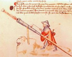 Hand cannon being fired from a stand, Bellifortis, manuscript, by Konrad Kyeser, 1405