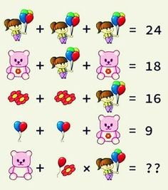Girl Balloons Teddy Flower Puzzle - with Answer Picture Puzzles Brain Teasers, Brain Teasers Pictures, Math Puzzles Brain Teasers, Math Logic Puzzles, Math Quizzes, Brain Teasers With Answers, Mind Puzzles, Shape Puzzles, Flashcards For Kids