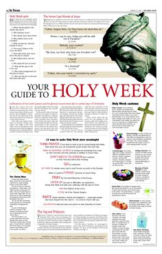 Holy week! This is a Catholic document but has some great info in it. My dad always read a 3 volume set on the work & sacrifice of Christ on Holy Week and fasted Fri to Sun Morning.