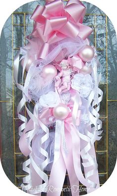 Pink Princess Cherub Angel Wreath Swag Floral Arrangement Shabby Chic White French Farmhouse Marie Antoinette Victorian floral SCT