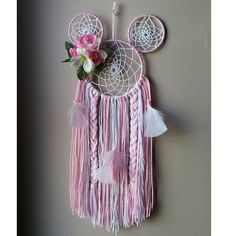 """Last mickey one I'm doing. I really like dream catchers that have more than one attached. Super easy to make, the rings come from a craft store in the """"native American"""" area, that has stuff to make moccasins and what not in that general spot."""