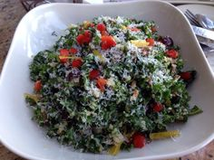 KALE and QUINOA SALAD  Cheesecake Factory Copycat Recipe   Makes 4 small servings or 2 large   1 small bunch of kale ( about 6 cups when...