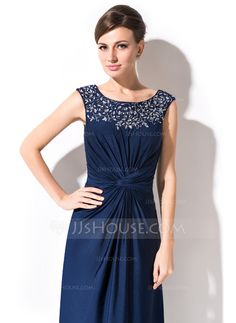 Sheath/Column Scoop Neck Ankle-Length Jersey Mother of the Bride Dress With Ruffle Beading (008051146)