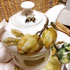 """Чайник """"Лимоны и шмель"""" - желтый,чайник,чайник заварочный,чайник керамический"""