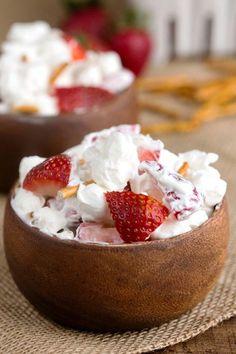 Strawberry Pretzel Fluff Recipe - easy no-bake dessert salad. Weight Watchers friendly and has WW points.