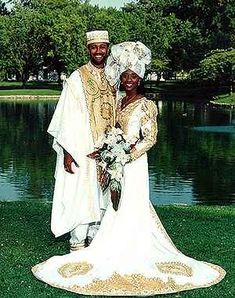 african traditional wedding dress for bride and bridegroom African Bridal Dress, African Wedding Attire, African Attire, African Dress, Bridal Dresses, Indian Bridal, Wedding Outfits, African Traditional Wedding Dress, Traditional Dresses