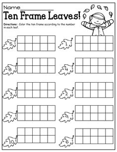 Ten frame activities for kindergarten. Preschool Math, Teaching Kindergarten, Kindergarten Worksheets, Math Classroom, Fall Preschool, Number Worksheets, Maths, Ten Frame Activities, Math Activities