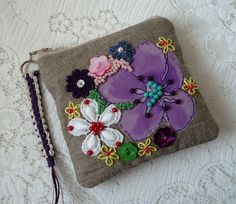 Linen embroidered purse £7.50
