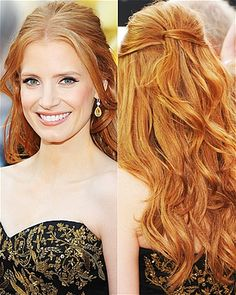 Delicate layers framed Jessica Chastain's face; soft, piecey waves tumbled down her back.