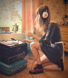 Girl Playing Records
