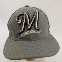 8e3f1ac9618 Milwaukee Brewers Fitted Hat Size 7 1 4 All Gray 59Fifty New Era MLB Cap