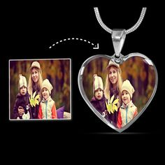 Personalized Photo Picture Heart Necklace Engraved, Photo Necklace Mem – ShineOn Photo Engraving, Custom Engraving, Working Mother, Working Moms, Graduation Necklace, Glass Coating, Photo Heart, Engraved Necklace, Perfect Photo