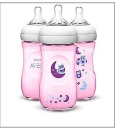 Philips Avent BPA Free Natural 9 Ounce 3 Pack Bottles - Forest/Owls Pink