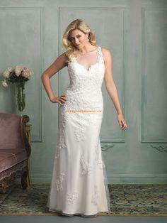 Robe de mariée grande taille sirène tulle application perles