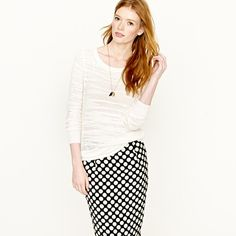 jcrew crepe sweater and polka dot skirt. need.