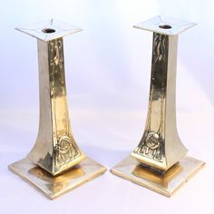 Very Large Margaret Gilmour Brass Candlesticks Scottish Arts & Crafts Glasgow | eBay