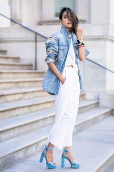 Crisp clean whites and a trusty denim jacket.