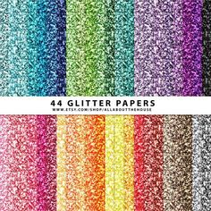 44 Glitter Digital Papers - Glitter texture - Christmas - Silver - Gold - Red - Green - Glitter paper - Rainbow - Scrapbooking - Printable