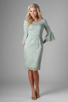 a092ab6d4b63 Modest bridesmaid dress with belle sleeve, style MK24882 Sage Mint, is part  of the