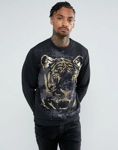 d4a71422 Versace Jeans Sweatshirt In Black With Large Foil Tiger - Black Tiger Print,  Tiger Tiger