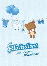 Carte De Félicitations Naissance Garçon Gratuite à Imprimer