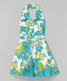 Can't wait to see O in this! Another great find on #zulily! Blue Flower Halter Dress - Girls #zulilyfinds