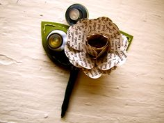 Three Green and Book Page Rose Paper Flower by TheLittleRedButton, $45.00  seem like you could make this a little cheaper than that,