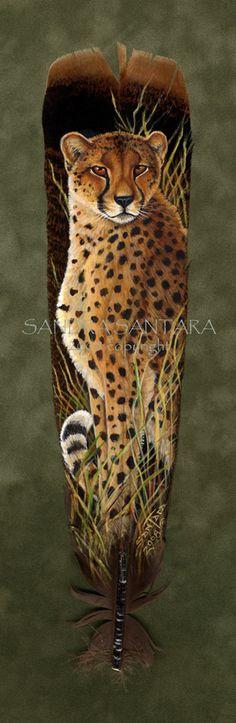 'Savannah Watch' - Hand Painted Turkey Feather by Sandra SanTara (Cheetah)