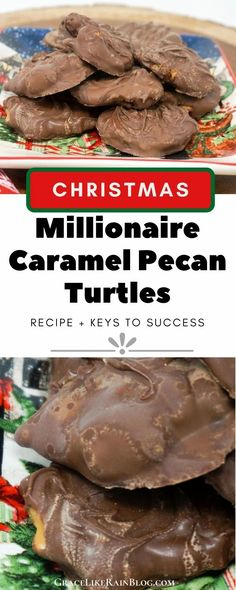 Caramel Pecan Turtles are a sweet caramel chocolate treat that we love to make at Christmas but they are perfect any time of year. Sometimes these are called Millionaires because they are so rich and delicious. And they are easier to make than you might think! | Homemade Chocolate Caramel Pecan Turtles Recipe | Christmas Candy Recipes | Homemade Millionaire Candy Recipe | Chocolate Caramel Millionaires | #Chocolate #Caramel #CandyRecipes #ChristmasRecipes Chocolate Caramel Slice, Chocolate Covered Pretzel Rods, Chocolate Candy Recipes, Chocolate Brownie Cookies, Chocolate Covered Marshmallows, Caramel Pecan, Homemade Chocolate, Easy Christmas Candy Recipes, Christmas Candy Gifts