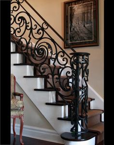 Wrought Iron Custom Design Stair Railing / Wrought Iron Special Design Stairs Railing- Ferforje Özel Tasarım Merdiven Korkuluğu / Wrought Iron Special Design Stairs Railing WhatsApp Support: 0536 920 4926 – 0532 643 3682 E-Mail: - Decoration Hall, Decoration Bedroom, Traditional Staircase, Banisters, Staircase Railings, Wrought Iron Staircase, Spiral Staircases, Iron Railings, Staircase Remodel