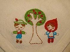 Scandinavian kids and tree embroidery