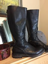 MOMA Tall Classic Riding Boots Italian Black Leather Back Zip 36.5 $625 Mint