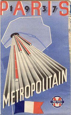"""Map """"Paris 1937 Metropolitan."""" Signed """"Demouron."""" 1930 's are the coolest!"""