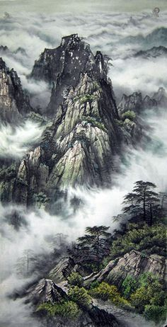 Chinese Landscape, Landscape Paintings, Asian Painting, Smoky Mountain, Painting Walls, Mountain Landscape